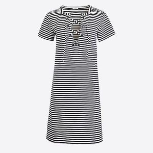 J Crew Stripe Lace Up Dress